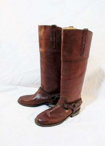 FRYE Leather MOTO HARNESS BOOTS 6 BROWN Riding Biker Buckle Womens