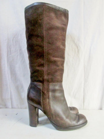 Womens NINE WEST EMILIO Suede Leather Knee High Boots Shoes BROWN 9 Stitch