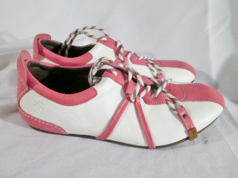 Womens FLY LONDON TRACK FIELD Leather Sneaker Athletic PINK WHITE 10.5 41 Shoe