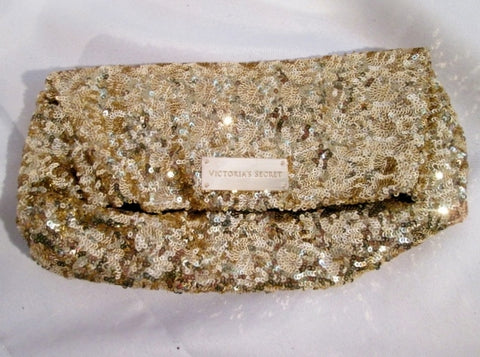 NEW VICTORIA'S SECRET Organizer Case Clutch Pouch Evening Bag GOLD SEQUIN Purse