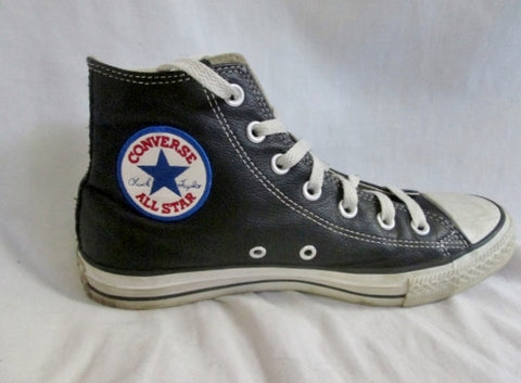 CONVERSE ALL STAR Hi-Top LEATHER Sneaker Trainer Athletic Shoe CHUCKS BLACK M6 / W8