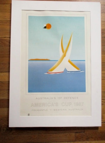 Signed 1987 Australia AMERICA'S CUP Print ART Poster YACHT WARD RACE BOAT