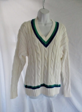 BROOKS BROTHERS Knit Cotton V-Neck SWEATER STRIPE L CREME Preppy Womens Pullover