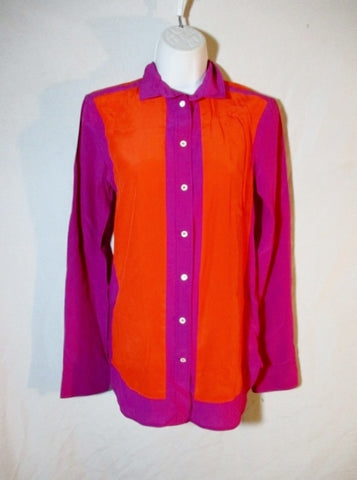 NEW NWT CELINE 100% Silk Button-Up Blouse Top Shirt 36 / S ORANGE PURPLE Long Sleeve Womens