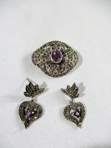Set STERLING SILVER BROOCH PIN MARCASITE AMETHYST EARRING HEART Noveau Deco Jewelry