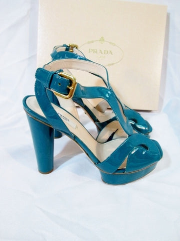 NEW PRADA VERNICE TREND TURCHESE PLATFORM Shoe Sandal TEAL 36.5 6  BLUE Strappy HEEL Womens