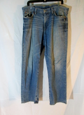 Mens LUCKY BRAND VINTAGE STRAIGHT JEANS PANTS Dungarees BLUE 36 X 30 Hipster BOHO