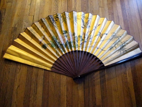 "Vintage Large Hand Painted Fan 62x33"" Hanging Wall Art Oversized GOLD Asia"