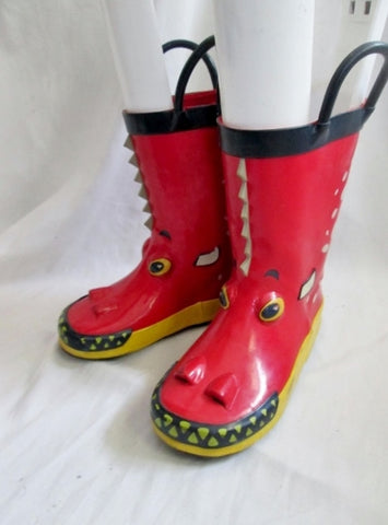 Kids Toddler Children's Place DRAGON Wellies Rain Boots Rainboots RED 9 Gumboots Shoes