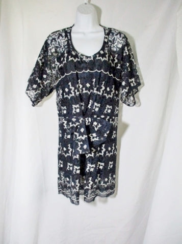 NEW NWT JUNYA WATANABE COMME DES GARCONS Lace dress M BLUE NAVY Embroidered WOMENS