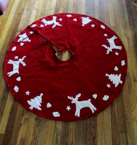 JOHN LEWIS RED WHITE REINDEER CHRISTMAS TREE SKIRT