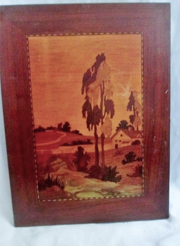 "Vtg 1968 Signed ""TWIN ELMS"" Landscape Wood Marquetry Picture Handmade Inlaid Folk Art"