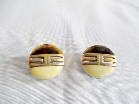 Vintage 1978 GIVENCHY PARIS NY Button EARRING Set Clip On GOLD CREME BROWN