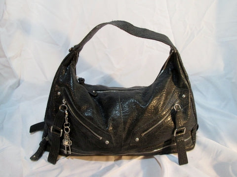 JESSICA SIMPSON Zip Pockets Bag Purse Faux Leather Satchel Bowler Clutch BLACK