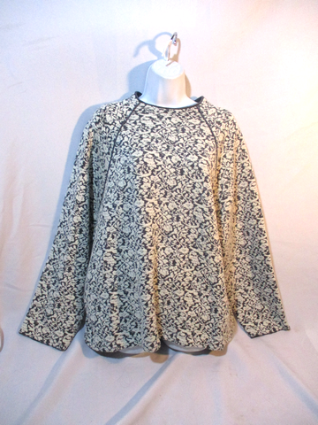 CHLOE Wool Floral Sweater Top OFF WHITE GREY GRAY Pullover Jumper Pockets