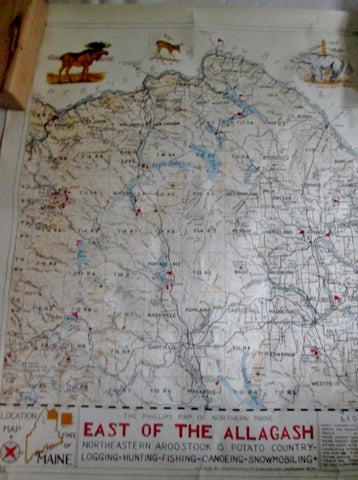 Vtg 1970 PHILLIPS MAP OF NORTHERN MAINE Chart NEW BRUNSWICK Hunt Fish