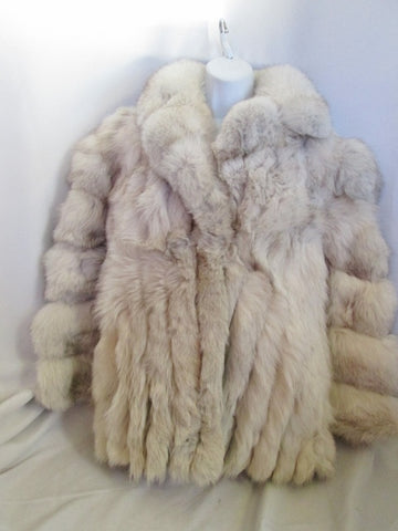 Vintage Womens SAGA FOX Genuine Fur Coat Jacket WHITE ECRU LUXURY Statement WOW!