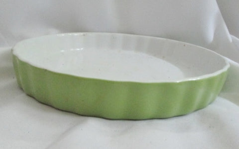 Hand Glazed BIA CHINA Cake PAN Pie Plate Mold Baking Birthday AVOCADO GREEN