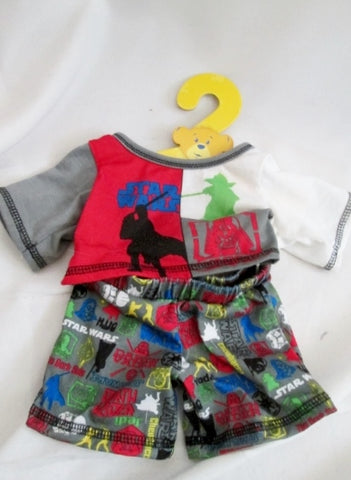 Lot Set Build A Bear Clothes Outfit Clothing STAR WARS Shirt Shorts Hanger