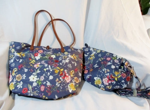 NEW NWT IMOSHION FLORAL TOTE BAG SHOPPER PURSE + Case Pouch BLUE