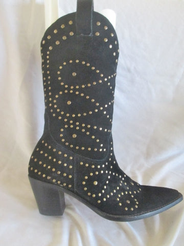 Womens KATHY VAN ZEELAND Suede Leather Stud Gogo Boots BLACK 7.5 ROCKER
