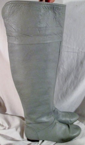 Womens BANANA REPUBLIC Leather Thigh High Over Knee Riding BOOT GRAY 11 GREY