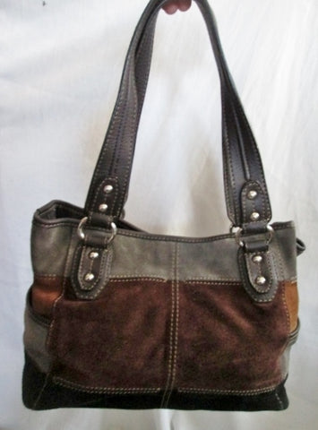 TIGNANELLO PATCHWORK suede leather tote satchel shoulder bag BLACK BROWN GRAY