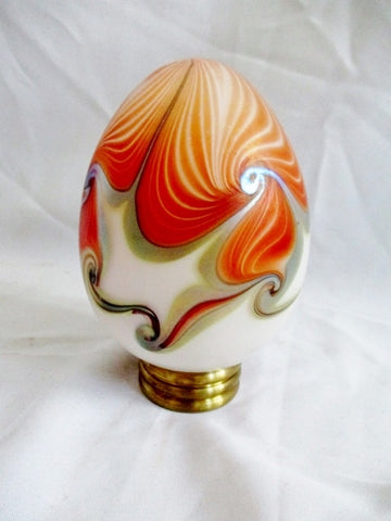 Signed Vintage 1980 Handmade Swirly BLOWN GLASS Porcelain ART EGG Gorgeous