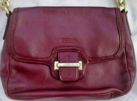 COACH F25206 TAYLOR Shoulder Bag Crossbody Purse Burgundy RED M