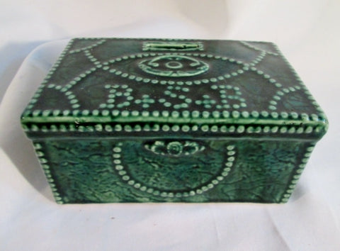 Vintage Antique 1834 BOWERY SAVINGS BANK REPLICA FIRST MONEY CHEST Coin GREEN Ceramic Pottery