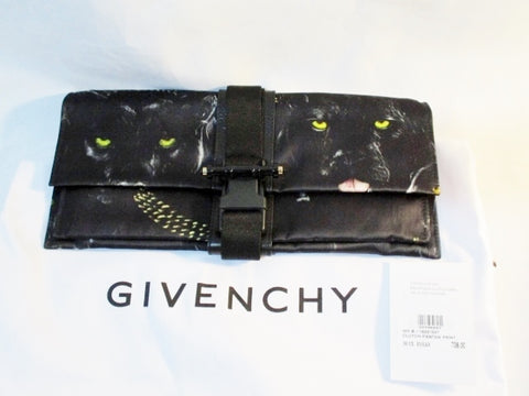 NEW NWT GIVENCHY PARIS BLACK PANTHA PANTHER CLUTCH PURSE Shoulder Bag