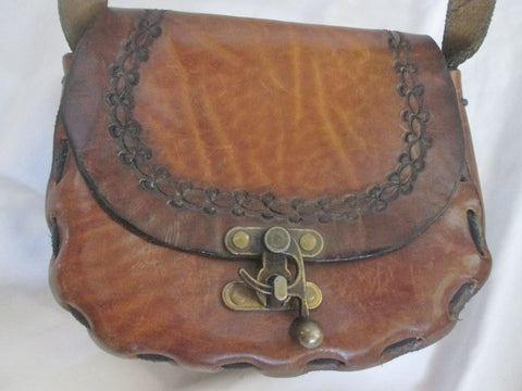 Handmade Latin Embossed Leather Handbag Shoulder Saddle Bag Satchel BROWN Ethnic