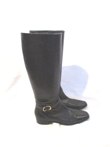 TALBOT'S Knee High LEATHER Moto Equestrian RIDING BOOT BLACK 8.5 W