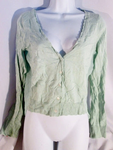 Womens KNITTED KNOTTED Ruffle Jacket Cardigan Sweater ANTHROPOLOGIE M MINT GREEN