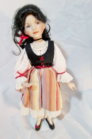 "15"" DIANA EFFNER Porcelain DOLL Toy SNOW WHITE Outfit Collectible w Stand"