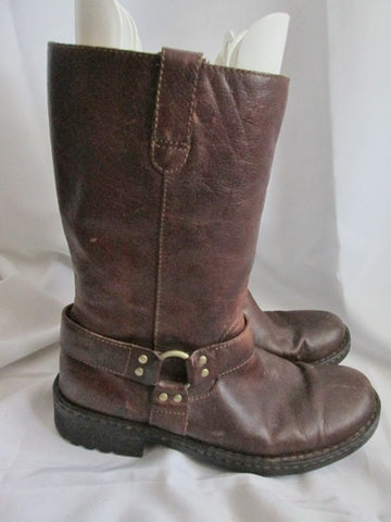Mens BORN Moto LEATHER Harness RIDING Biker BOOT BROWN 11 Industrial