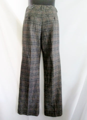 NEW NWT EDITOR EXPRESS FLARE LEG LOW RISE Womens Slacks PANTS Trousers 6 PLAID