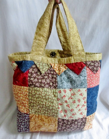 Handmade PATCHWORK Quilted Cloth BAG Tote Satchel Vegan FLORAL Multi-Color