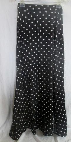 NEW Womens HAODUOYI Maxi Skirt STYLEWE BLACK WHITE POLKA DOT M Full