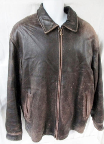 MENS UNITED FACE Leather Bomber JACKET Aviator Flight Lined Plush Coat L BROWN