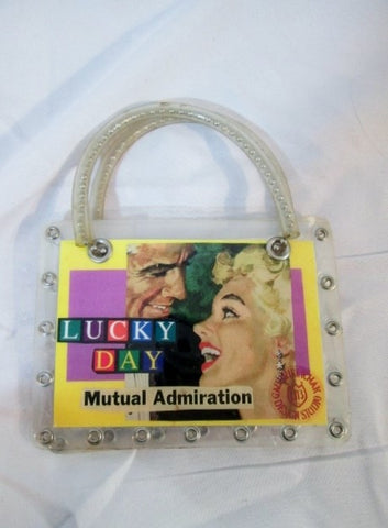 Handmade LUCKY DAY ART QUESTION MINI TOTE  bag purse clutch CLEAR