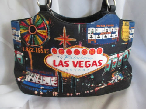 Frankie & Johnny Fabulous Las Vegas Shoulder Bag Casino Gambling Black Vegan TOTE