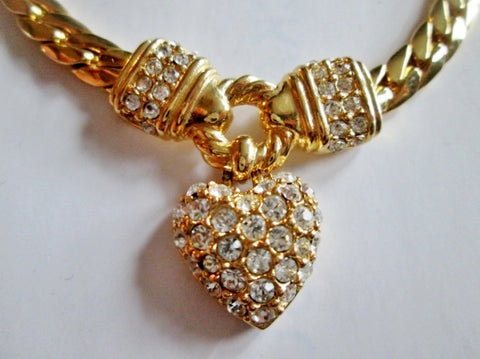 "15"" HEART Rhinestone Charm PENDANT Necklace GOLD Choker LOVE Soulmate Chainlink Rope"