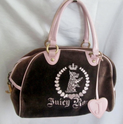 JUICY COUTURE ROYAL Leather Velvet purse leather DOG satchel bowler PINK BROWN