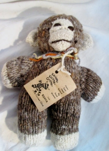 NEW NWT HANDMADE Wool Plush HAND KNIT MAMA MONKEY Stuffed Animal AFRICA Doll Toy