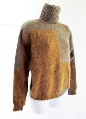 NEW CELINE CASHMERE ANGORA Mohair TURTLENECK Sweater S BROWN Womens