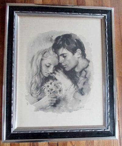 SIGNED SANDU LIEBERMAN LITHOGRAPH COUPLE YOUNG LOVE Picture ART Romantic