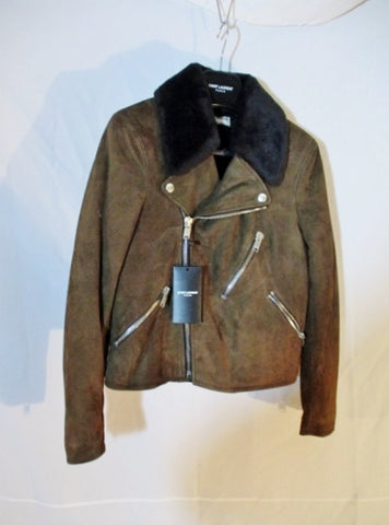 NWT SAINT LAURENT SUEDE LEATHER Moto Riding jacket coat 38 8 BROWN New Womens