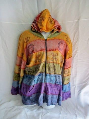 Womens RISING INTERNATIONAL PATCHWORK Hippy Hoodie SWEATSHIRT Jacket 4XL