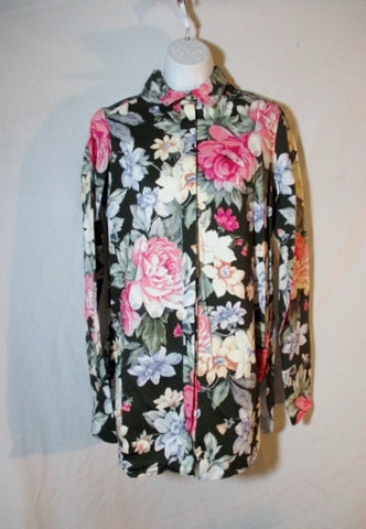 NEW NWT CELINE PARIS Cotton Button-Up Floral Top Shirt 36 / S Long Sleeve Womens